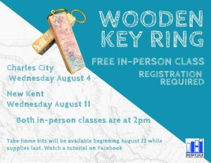 Wooden Key Ring Craft - CC @ Heritage Public Library - Charles City | Charles City | Virginia | United States