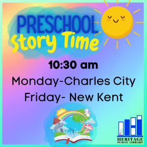 Preschool Story Time in New Kent @ Heritage Public Library | New Kent | Virginia | United States