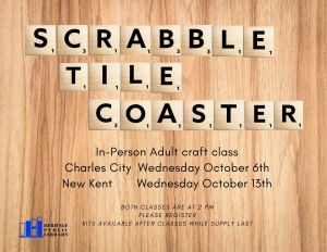 Adult Craft Class - SCRABBLE TILE COASTER @ Heritage Public Library | New Kent | Virginia | United States