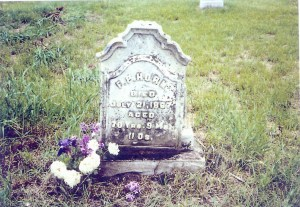 Headstone of Frederick P. Horn in Sandhill Cemetery, near Tipton, Cedar Co., Iowa, prior to restoration.
