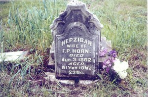 Headstone of Hepzibah (Clark) Horn in sandhill Cemetery, near Tipton, Cedar Co., Iowa, prior to restoration, about 2007.