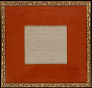 Wedding invitation of Helen and Joseph Cooper.
