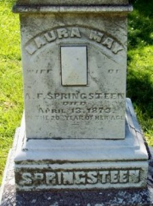 Laura May (Longfellow) Springsteen- Headstone. Crown Hill Cemetery, Indianapolis, Marion, Indiana. Posted with permission of photographer.