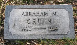 Headstone of Abraham M. Green 1866-1931 Mt. Olive Hebrew Cemetery, now United Hebrew Cemetery, University City, St. Louis, Missouri, USA. Image used with kind permission of FAG photographer.