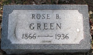 Headstone of Rose Brave Green 1866-1936,  Mt. Olive Hebrew Cemetery, now United Hebrew Cemetery, University City, St. Louis, Missouri, USA. Image used with kind permission of FAG photographer.