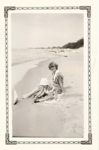 Catherine Alexander and Bobby Lee at the beach in Grand Haven, Michigan, August, 1935.