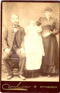 "Unknown Couple with Baby- Green or Cooper Family? Photo taken by R.D. Cochran, ""Artistic Photographer"" in Pittsburgh, Pennsylvania."