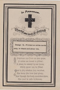 "Reverse of a sample funeral card with the name ""Geo. A. Roberts"" written at the top. George A. Roberts died 18 Apr 1939."