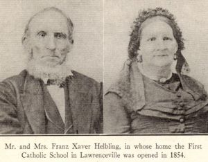 Franz Xavier Helbling and Maria Barbara (Helbling) Helbling, c1860s? Family portraits and reprinted in St. Augustine (Lawrenceville, PA) Diamond Jubilee pamphlet, page 40.