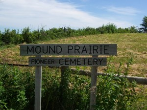 Mound Prairie Cemetery Marker in Jasper Co., Iowa