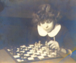 Mary T. Helbling playing chess as a child, c1930s.