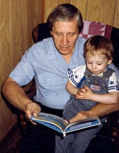 Edward A. McMurray, Jr., with his first grandson, about 1989.
