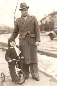 "Lloyd Eugene ""Gene"" Lee with his son Robert ""Bob"" Lee, winter of 1936. Bobbie was four years old."