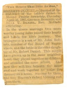 Roberts-Daniel marriage announcement, after 16 Apr 1885. newspaper unknown but possibly one from Prairie City, Jasper County, Iowa.