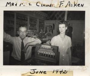 June 1942- Claude Frank Aiken and his wife Mildred Paul in their drugstore.