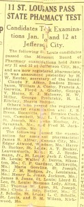 "New Registered Pharmacist- Claude Aiken, Assistant Pharmacist- Lloyd Eugene ""Gene"" Lee, date and newspaper unknown from clipping."