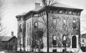 1888- Home of Benjamin Harrison in Indianapolis, Indiana. He became President in 1888. Public domain, Wikimedia.