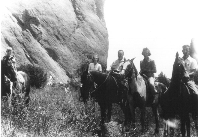 "1940s trip to Colorado. From left, Bobby Lee (Robert E. ""Bob"" Lee), Ruth Nadine (Alexander) Lee, Lloyd Eugene ""Gene"" Lee, Henrietta (Fasterling) Reuter and Walter Reuter on the trail on horseback."