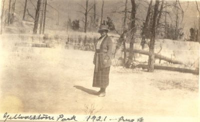 Unknown Lee or Aiken- possibly Dora (Russell) Aiken in Yellowstone Park, Aug 1921.