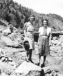 Henrietta (Fasterling) Reuter on left and Ruth Nadine )Alexander) Lee on right in Colorado, 1940s.