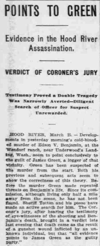 """Points to Green,"" The Morning Oregonian,(Portland, Oregon) March 26, 1901, Volume 41, Number 12,569, Page 4, Columns 1-3, Part 1. Public Domain."