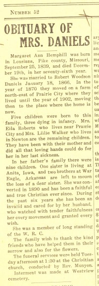 Obituary of Margaret Ann Hemphill, 23 December 1915, Prairie City News, Prairie City, Iowa, page 1.