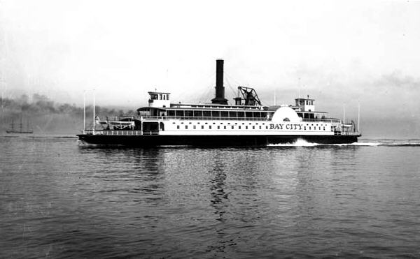 The Southern Pacific Company's Bay City ferry plies the waters of San Francisco Bay sometime between 1870 and 1900. Denver Public Library-public domain.
