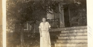Dorothy (Aiken) Lee, probably in front of their home at 1038 Grand View Place, St. Louis, Missouri.