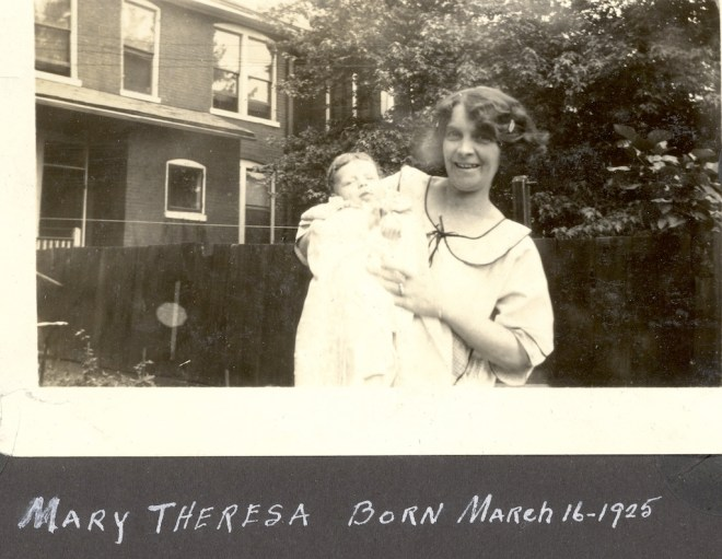 Anna Mae (Beerbower) Helbling with her daughter, Mary Theresa Helbling, 1925. Mary Theresa was my first storyteller, and so many of those stories revolved around her dear mother.