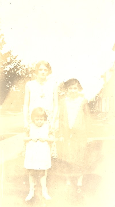 About 1930- May Helbling on left with her sister Mary Theresa Helbling in front. It was thought the girl in the picture was Roberta P. Beerbower but the age is not right- Roberta would have been 30 when this photo was taken.