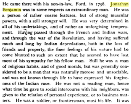 Jonathan Benjamin, in History of Licking County OH. Norman Newell Hill, Jr._Unigraphic, 1881. p602 (GoogleBooks)