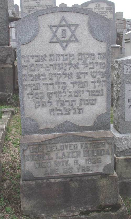 Michael Lazer Broida- Headstone- in Beth Hamedrash Hagadol Cemetery, McKees Rock, Allegheny, Pennsylvania.