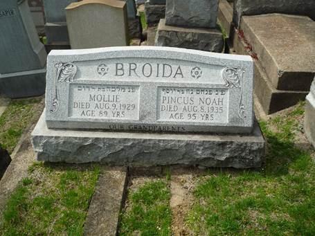 "Headstone of Pincus/Peter Broida and Sarah Malke ""Mollie"" Broida in Beth Hamedrash Hagodol Cemetery, McKees rocks, Allegheny, Pennsylvania."