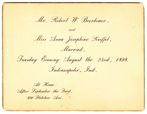 'At Home' card of Robert Warson Beerbower and Anna Josephine Reiffel Beerbower, married 23 August 1898.