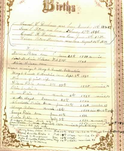 Beerbower-Peters Family Bible- Births.