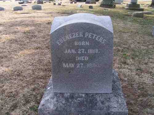 Headstone of Ebenezer Peters in Marion Cemetery, Marion, Marion Co., Ohio.