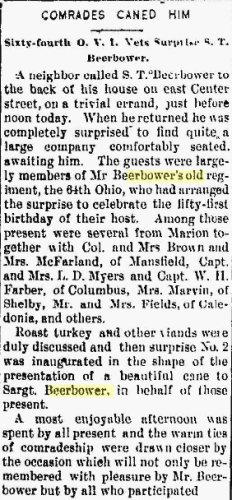 """Samuel T. BEERBOWER -""""Comrades Vaned Him"""" in The Marion Daily Star, 10 Nov 1893"""