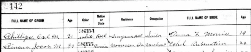Marriage record of Ethel Rubinstein to Jacob M. Pincus in Delaware, 06 Sept 1911, part 1, via Ancestry.com.