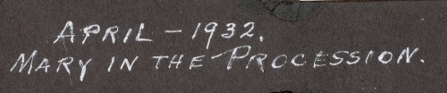 Caption for Mary Theresa Helbling In The Procession, April, 1932. Written by Anna Mae Beerbower Helbling, her mother.