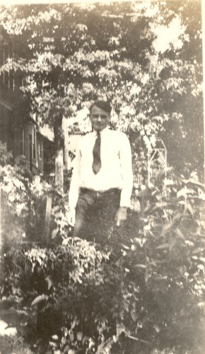 "Gerard William ""G.W."" Helbling in his garden in St. Louis, Missouri. Date unknown, likely 1920s."