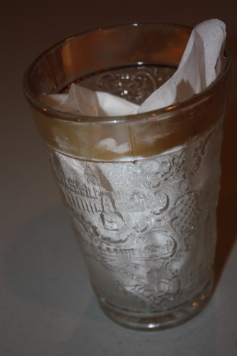 Souvenir of 1904 St. Louis World's Fair- Pressed glass number with gold rim.