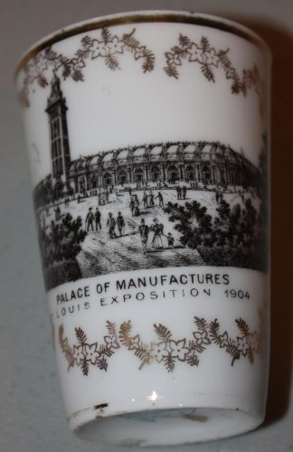 Souvenir of 1904 St. Louis World's Fair-Transferware Porcelain small tumbler- Palace of Manufactures.
