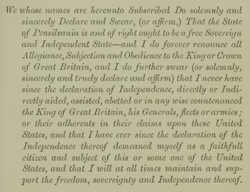 1777 Pennsylvania Oath of Allegiance given by Caspar Bierbure on 16 May 1778.
