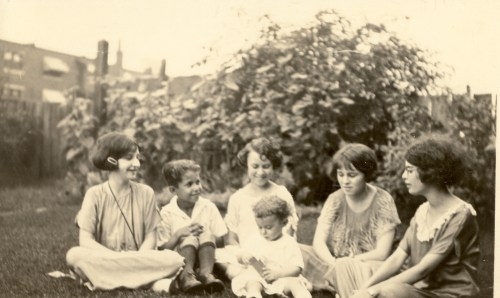 "The Green Family Grandchildren, circa 1925. Likely taken in St. Louis, Missouri. From left: Gertrude Broida, Preston Green, Helen D. ""Sis"" Ledwidge with Harold Green in front, and Sarah Jane Ledwidge."