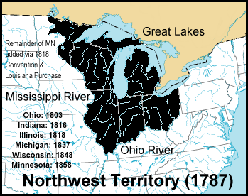 Northwest Territory of USA- 1787 via Wikipedia, Creative Commons Attribution-Share Alike 3.0 Unported license.