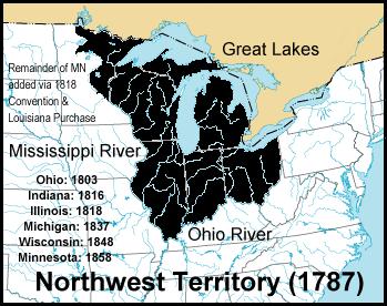 Northwest Territory of USA- 1787 via Wikipedia, Creative Commons Attribution-Share Alike 3.0 Unported license.