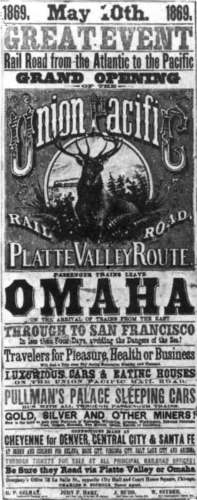 Transcontinental railroad poster, 1869, via Wikimedia. Public domain.