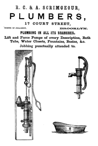 R. C. & A. Scrimgeour Plumber advertisement, page 267, in Smiths Brooklyn Directory for yr ending May 1 1857, via InternetArchive.