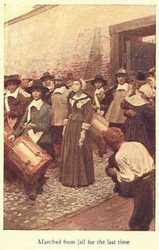 """Marched from jail for the last time,"" fictional character Dulcibel Burton, illustration, Dulcibel : A tale of old Salem, by Henry Peterson, Philadelphia : John C. Winston, 1907, painting by Howard Pyle (1853-1911) via Wikimedia Commons; public domain."