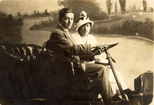 Morris and Rose Broida at Expo Park, Pennsylvania. Likely taken about 19 Aug 1915.